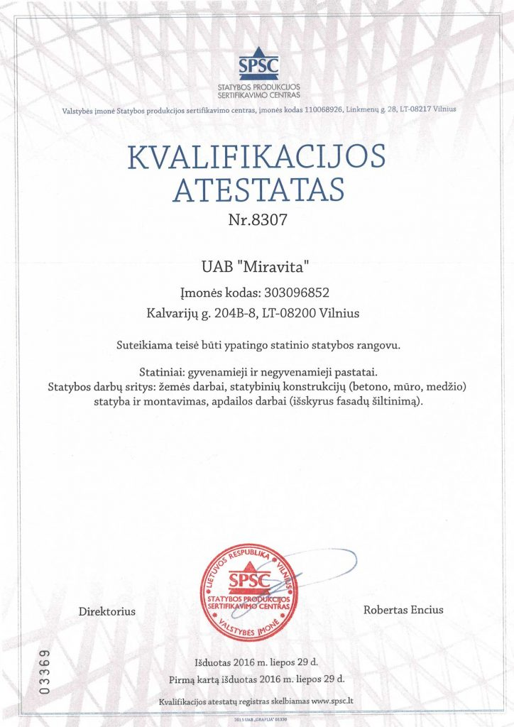 Atestatas UAB Miravita